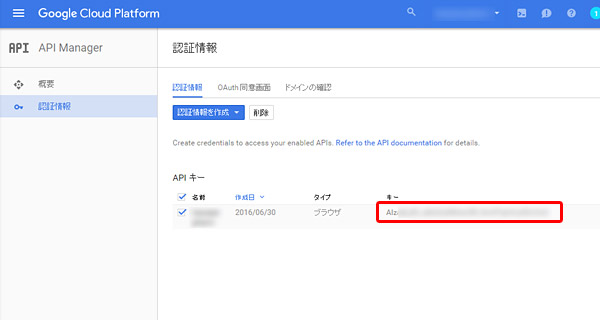 Google Maps API Keyの取得は完了