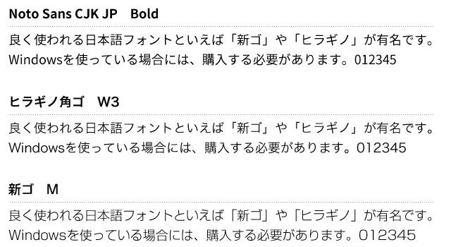 「Noto Sans CJK JP」を「新ゴ」や「ヒラギノ」と比較