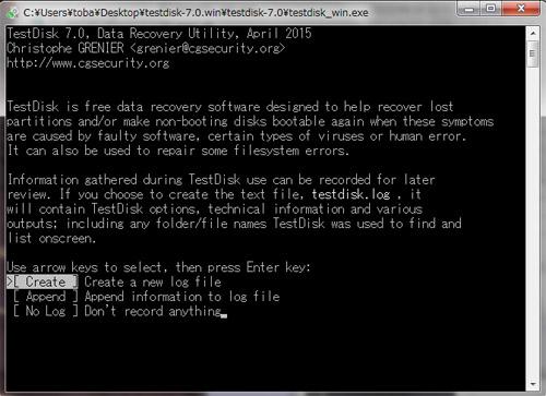 TestDiskを起動した画面
