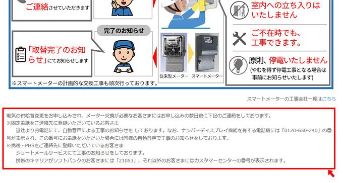 東京電力からの連絡に関する注意書き