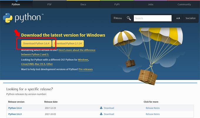 「Download Python 3.6.4」をクリックして、インストーラーをダウンロード