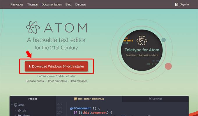 「Download Windows64-bit Installer」をクリックして、Atomのインストーラーをダウンロード