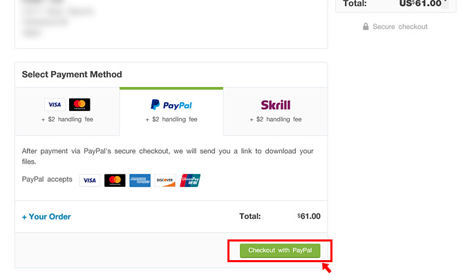 支払い方法をクリックすると、金額の確認が表示されますので「Checkout with Paypal」をクリックします。