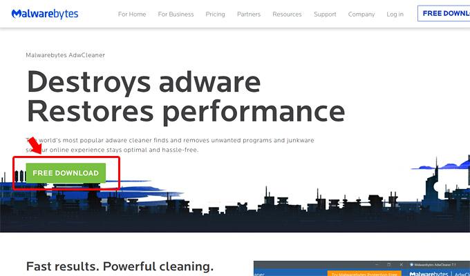 まずは、以下の公式サイトから「AdwCleaner」をダウンロードします。ページ上部にある緑色のボタンの「FREE DOWNLOAD」をクリックします